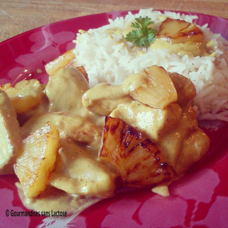 Gourmandises sans Lactose: Sauté de Poulet Ananas, Sauce Curry Coco sans Lact...