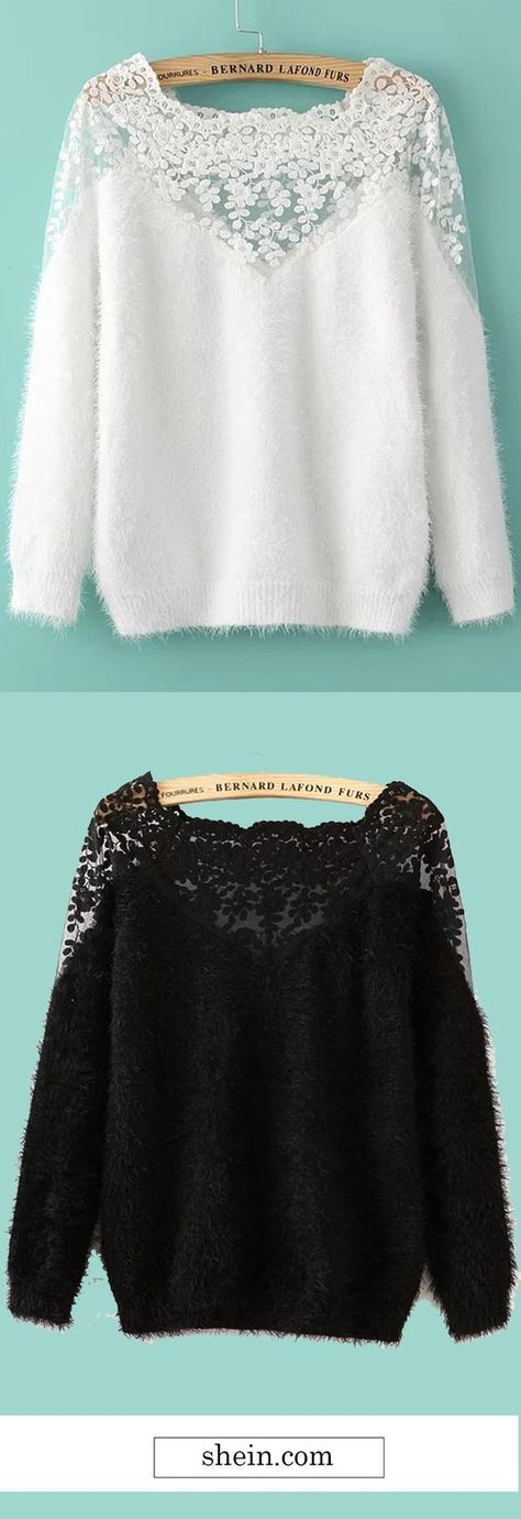 White Lace Insert Boat Neck Mohair Sweater