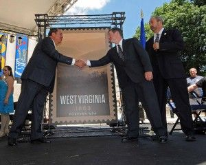 Joining Thomas Marshall (General Counsel and Executive VP, USPS) to help dedicate the new stamp were West Virginia Governor Earl Ray Tomblin, Sens. John D. Rockefeller IV, and Joe Manchin, West Virginia Sesquicentennial Commission Chairman Kay Goodwin, and photographer Roger Spence.