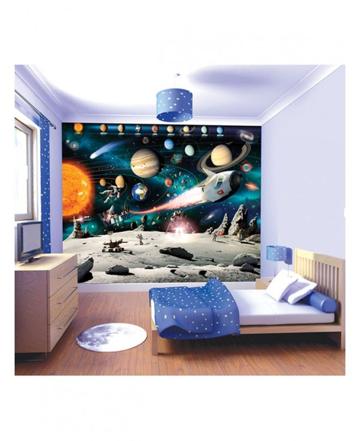 Create an instant feature wall in your room with this brilliantly detailed Space Adventure Wall Mural! The colourful mural is printed onto high quality paper to ensure a fantastic finish and is made up of 12 smaller panels for easy application. It features a stunning image of a space scene with astronauts, rockets and the named planets across the top to help your child learn about the solar system