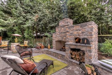 Outdoor Fireplace with pizza oven - traditional - spaces - portland - Paradise Restored Landscaping & Exterior Design