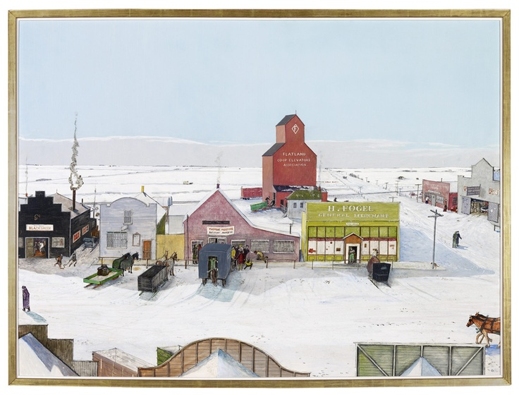 "William Kurelek - ""Prairie Town in Winter"" (1966), mixed media on hardboard,  83cm by 124.7cm, The Thomson Collection at the Art Gallery of Ontario, Toronto © Estate of William Kurelek"