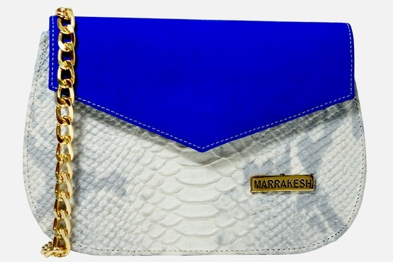 Clutch Nubuck Blue & White Python; Italian Materials