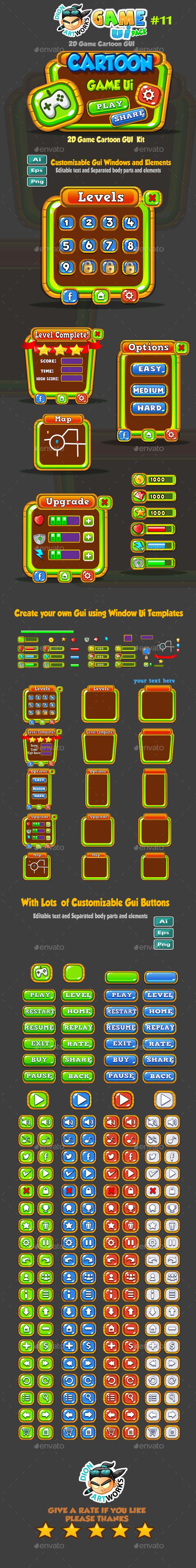 Cartoon Game Ui Pack 11 - User Interfaces #Game #Assets Download here:  https://graphicriver.net/item/cartoon-game-ui-pack-11/17444009?ref=alena994