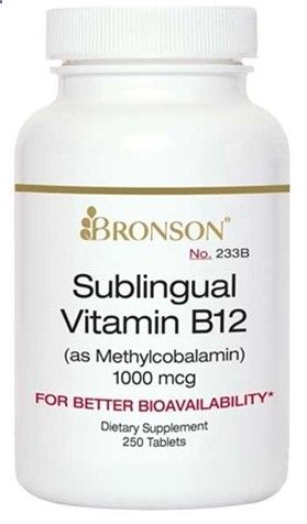 Nutritional Supplement Sublingual B12 1000 mcg 100 Tablets for Diabetic Neuropathy By Bronson  233A