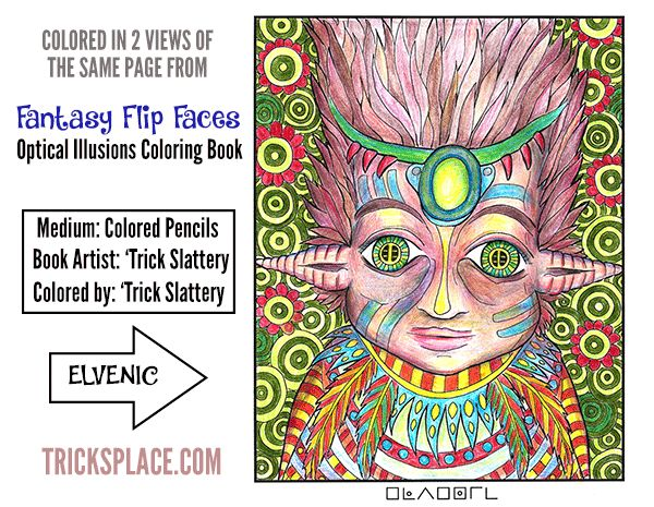 I colored in two views from this #opticalillusion #coloringpage from this #coloringbook: http://tricksplace.com/fantasy-flip-faces-coloring-book/