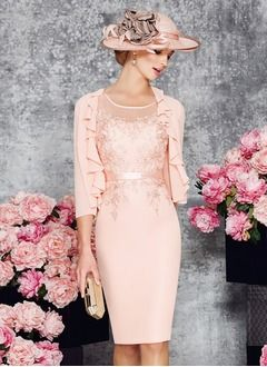 Sheath/Column Scoop Neck Knee-Length Chiffon Mother of the Bride Dress With Appliques Lace (0085099922)