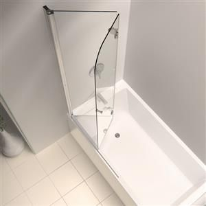 We'll need a shower/tub combo in the main bathroom, but shower curtains and sliding glass doors have always bummed me out. A fixed glass panel would inhibit tub access too much during baby bath times. Is this the solution?