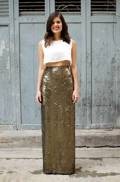 DIY Sequin Maxi Skirt by apairandaspare, via Flickr
