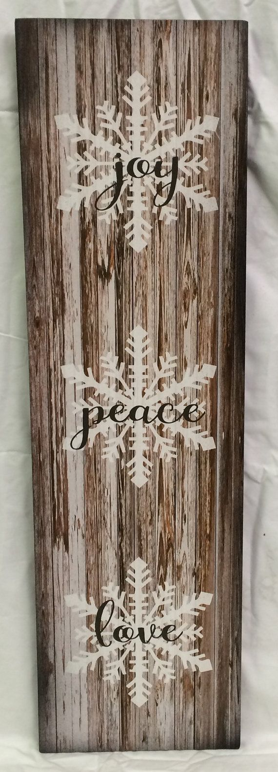 Joy Peace Love Wood Sign or Canvas Wall Hanging - Christmas, Farmhouse,Winter Sign,