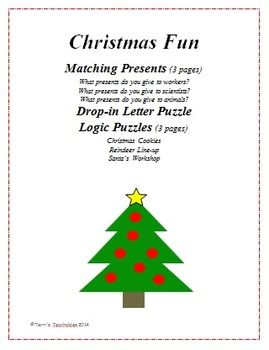christmas fun 3 present matches 1 drop in letter puzzle and 3 logic puzzles - Fun Sheets For Students