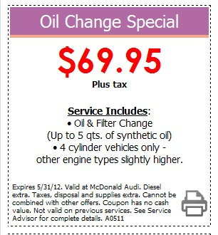 Audi Oil Change Special! Come to McDonald Audi in Denver, Colorado and take advantage of this great deal! Expires 5/31/2012