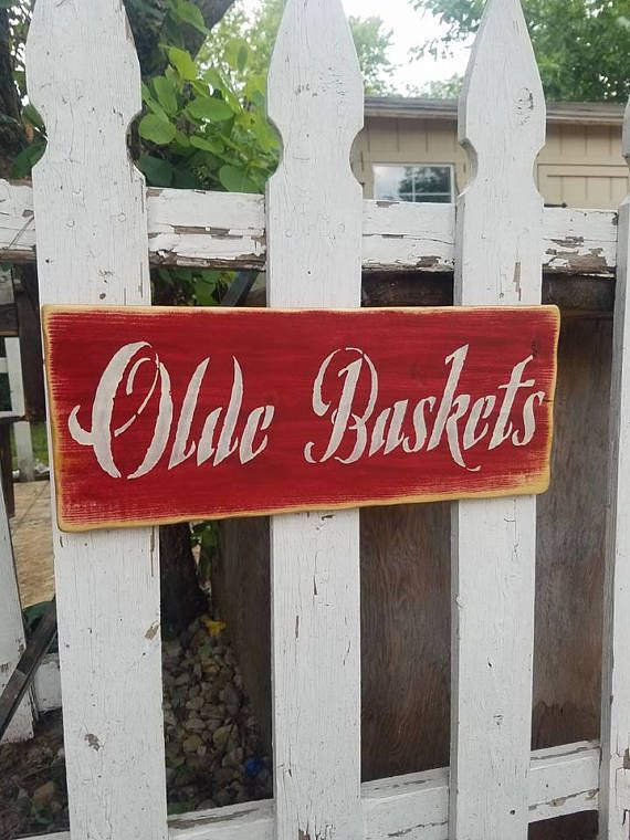 Grungy Red OLDE BASKETS Primitive Basket Wood Sign 7-1/4