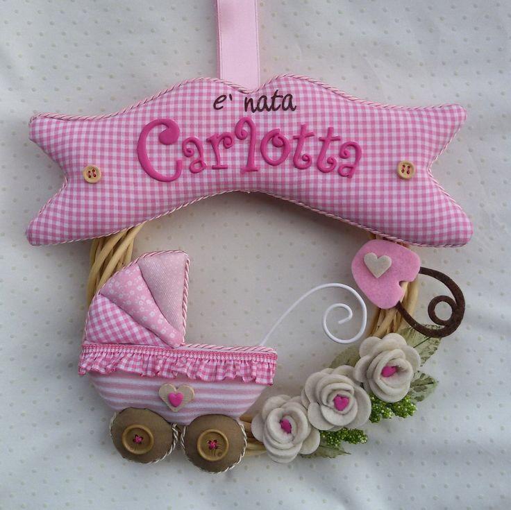 "Fiocco di nascita ""Carrozzina rosa"""