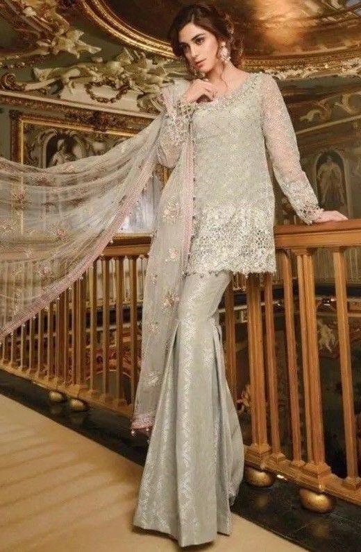 Pakistani indian Net embriodered salwar kameez  bridal wearing dress ... 0ce17798c