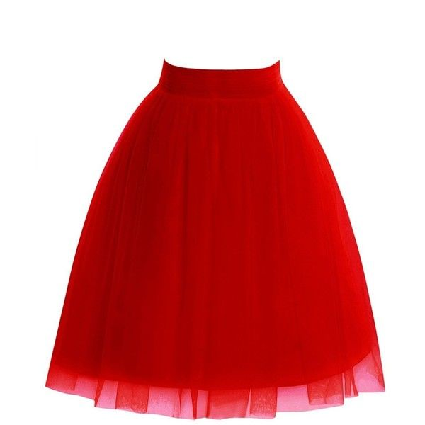 MorySong Women's A Line Short Knee Length Tutu Tulle Overlay Skirt ($19) ❤ liked on Polyvore featuring skirts, tulle tutu, short tutu, a line skirt, short tulle skirt and red tutu