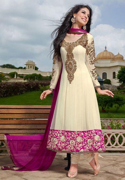 Stylish White and Pink Anarkali
