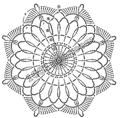 Crochet snowflake octagon eight points chart.   1001 узор. Узоры крючком. Мотивы