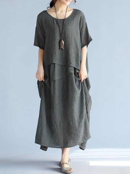 Shop Casual Dresses - Gray Crew Neck Half Sleeve H-line Solid Maxi Dress online. Discover unique designers fashion at JustFashionNow.com.