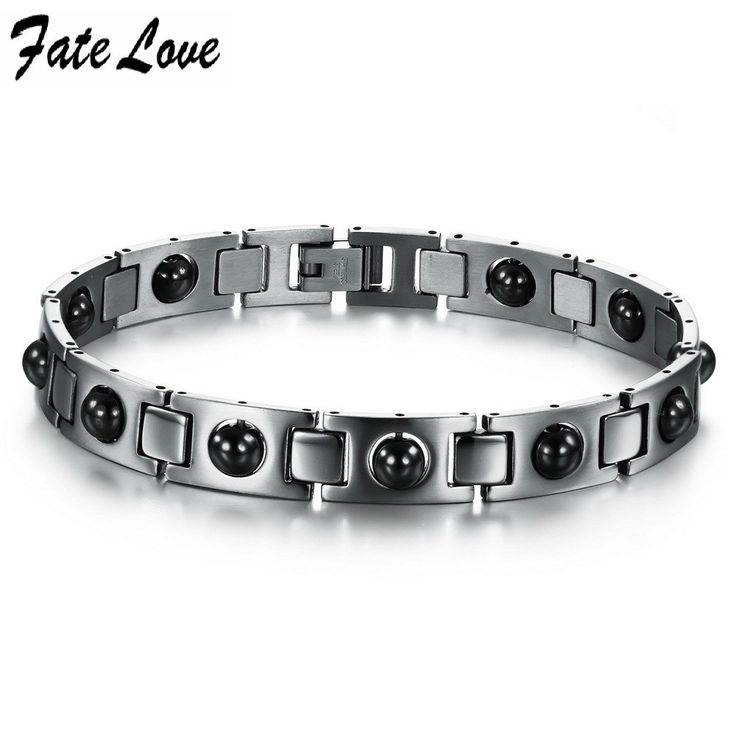Italy Style stainless steel bracelet, magnetic energy with health care stone for men