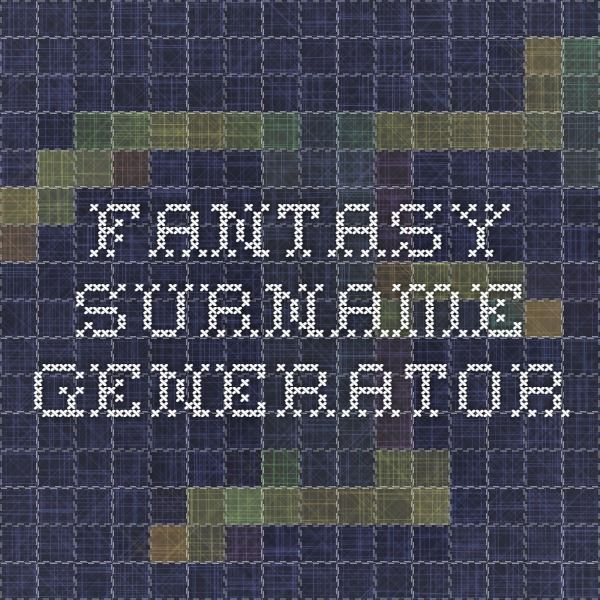 Fantasy surname generator