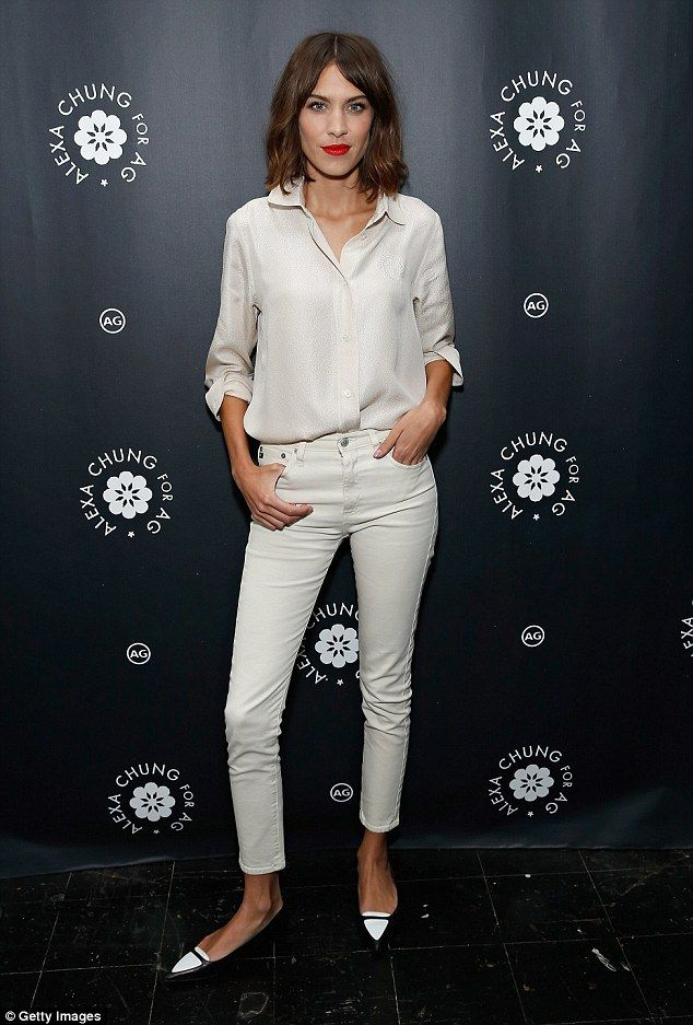 All white on the night: Alexa modelled her white denim from the Alexa Chung For AG on Tuesday night in New York's Bergdorf Goodman