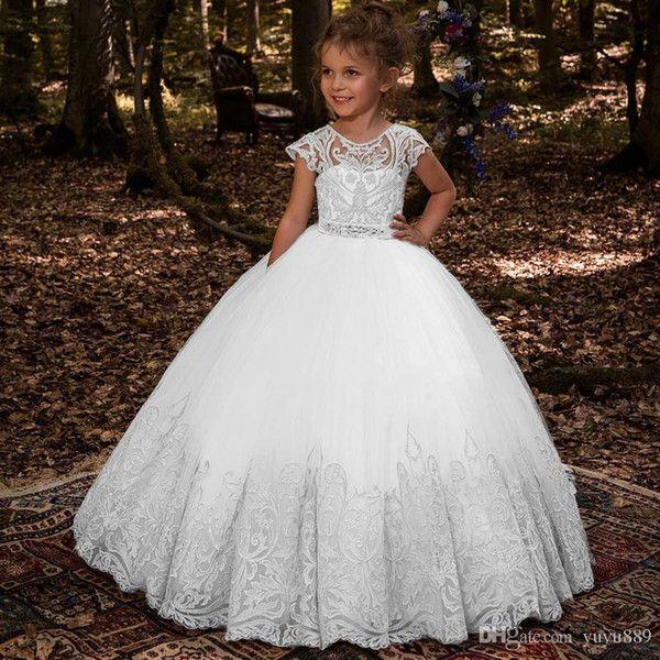 one-stopos / Lovey Holy Lace Princess Flower Girl Dresses 2019 Vestido de fiesta Vestidos de primera comunión para niñas Sin mangas de tul Vestidos para niños