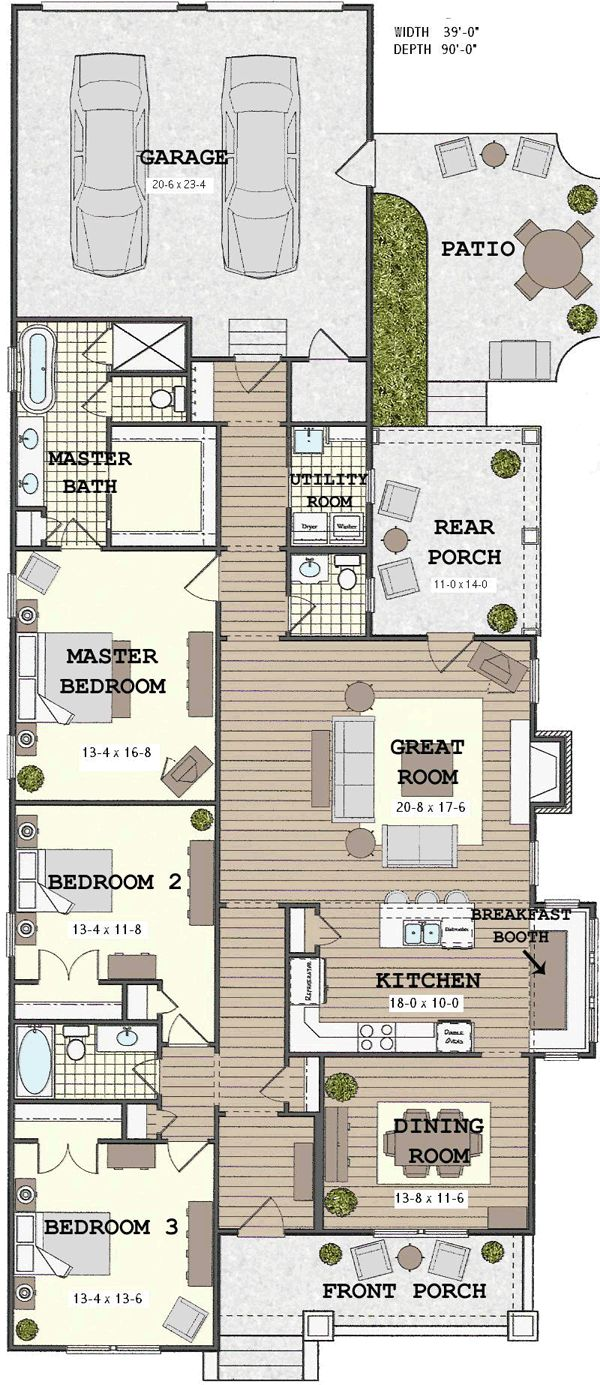 Narrow house plans woodworking projects plans for Long narrow office layout