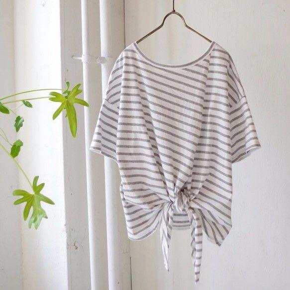 前後着用可!2way エーゲ海コットンボーダー裾結びTシャツ(gray × white)|Tシャツ・カットソー|AKKA EM STUDIO|ハンドメイド通販・販売のCreema