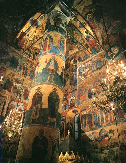 Inside the Cathedral of Assumption, the Moscow Kremlin.