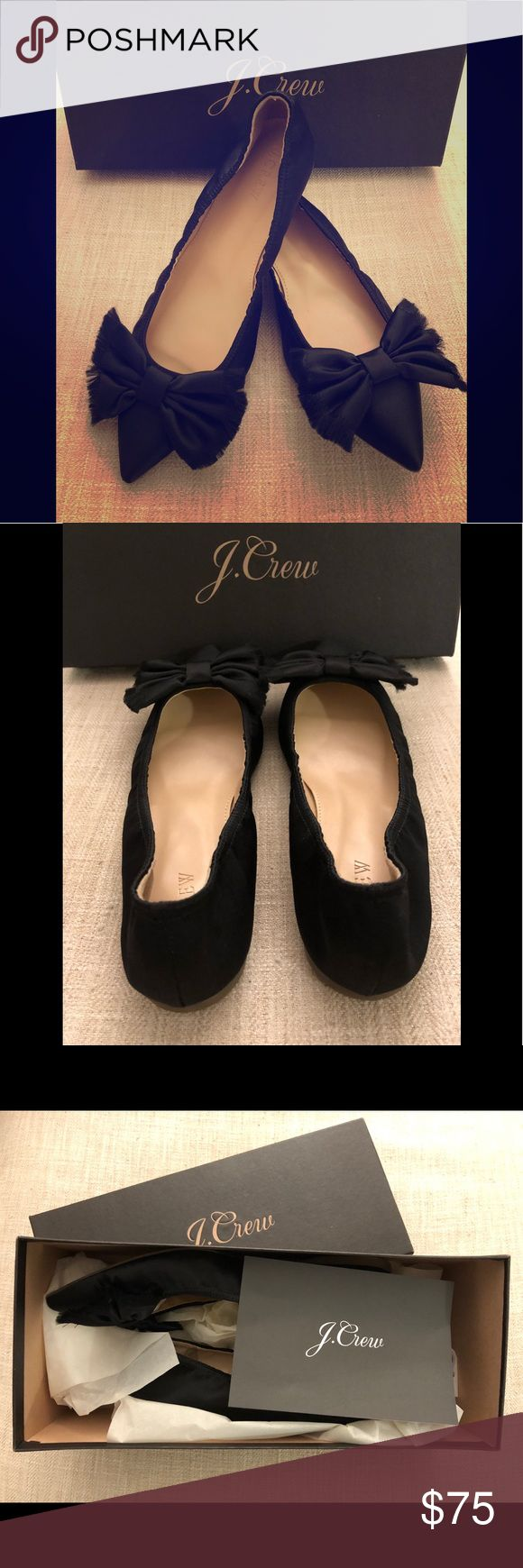 NWT J.Crew Lottie frayed bow flats in black satin NWT J.Crew Lottie frayed bow flats in black satin size 7. Ballet flats have flexible rubber soles and cotton/polystyrene upper. Never Worn. Comes with original box. Runs a bit small. J. Crew Shoes Flats & Loafers
