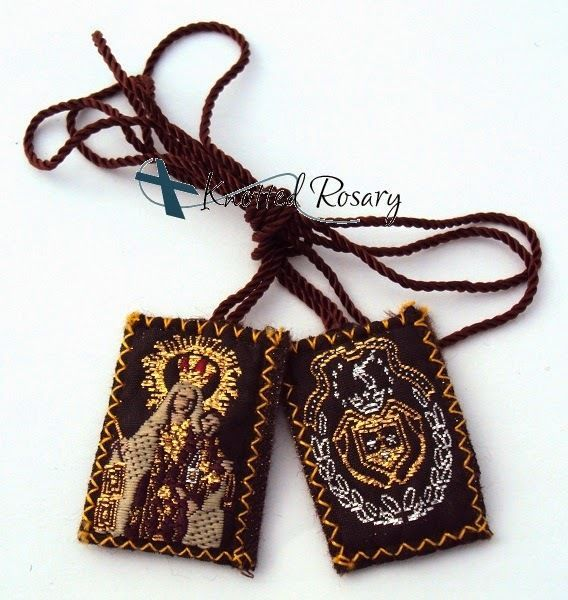 Escapulario Necklace: Our Lady Of Mount Carmel Wool Scapular Escapulario De La