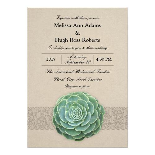 Captivating Rustic Succulent Wedding Invitation