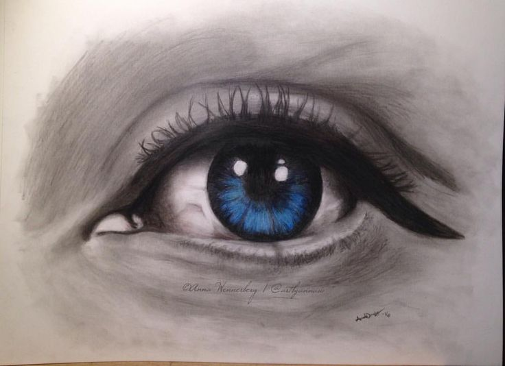 Drawing of an eye made with graphite and colored pencils, by swedish artist Anna Wennerberg (@artbyannaw på Instagram)