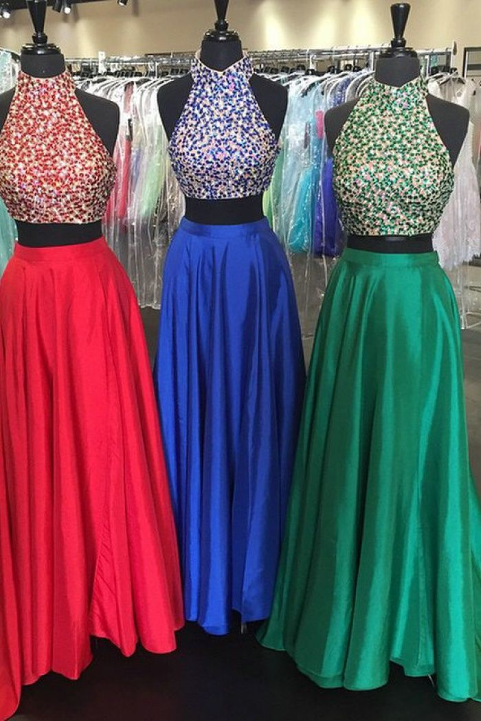 9ed4bbce14e New Arrival High Neck Satin Backless Two Piece Prom Dress with Beaded