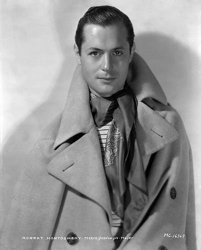 """From the Crème de la Crème """"Coats by Adrian"""" post--Robert Montgomery, in a great wool trench coat, 1931."""