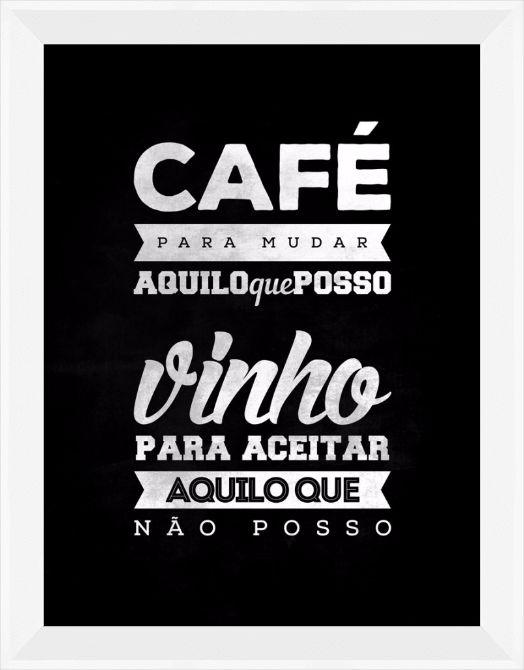 Quadro Café e Vinho (On The Wall) com moldura branca | Crie o seu quadro com…