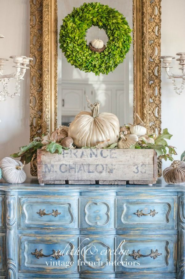 Glammed up French Country Pumpkins by Edith and Evelyn Vintage, Fall Decor Inspiration. Stunning homes decorated for Fall.  Lots of pictures full of ideas.