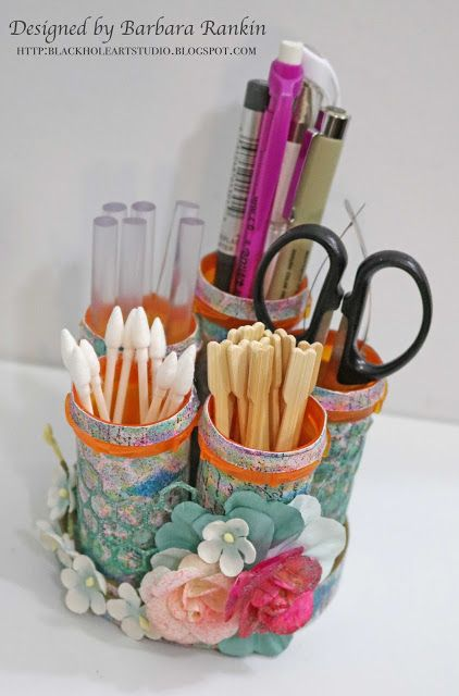 Recycle pill bottles to make desk organizer