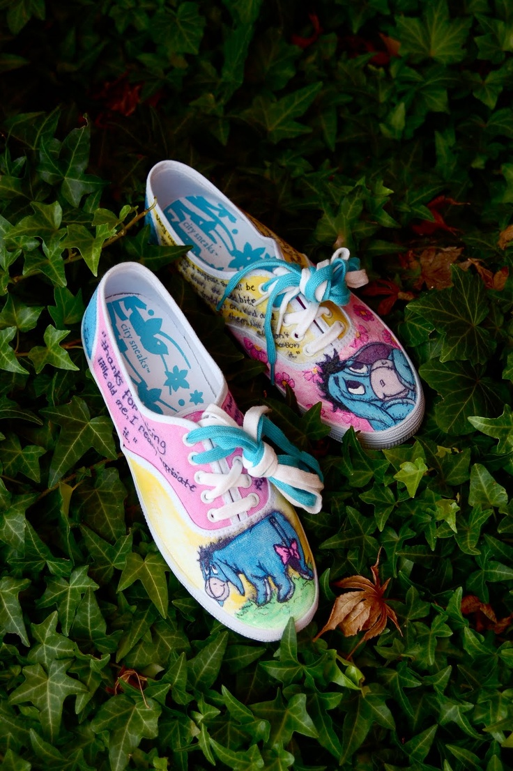 Eeyore and Balloons hand painted shoes. So want to try this! From CHAE  CHERIE
