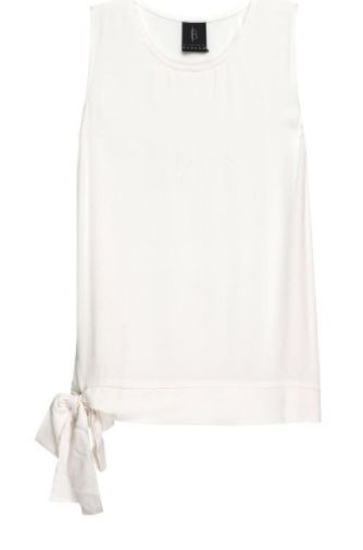 MARLOWE WOVEN BLOUSE WITH SIDE TIE - IVORY