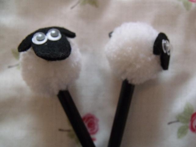 Cute Sheep Pom Pom Pencil - Folksy