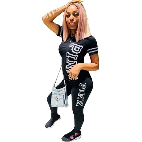 9fa77ac2808 Women PINK Letter Casual 2 Piece Set Print Sexy Tops Skinny Pants  Sweatsuits Two Piece Tracksuit Suit Streetwear Plus Size S-XL