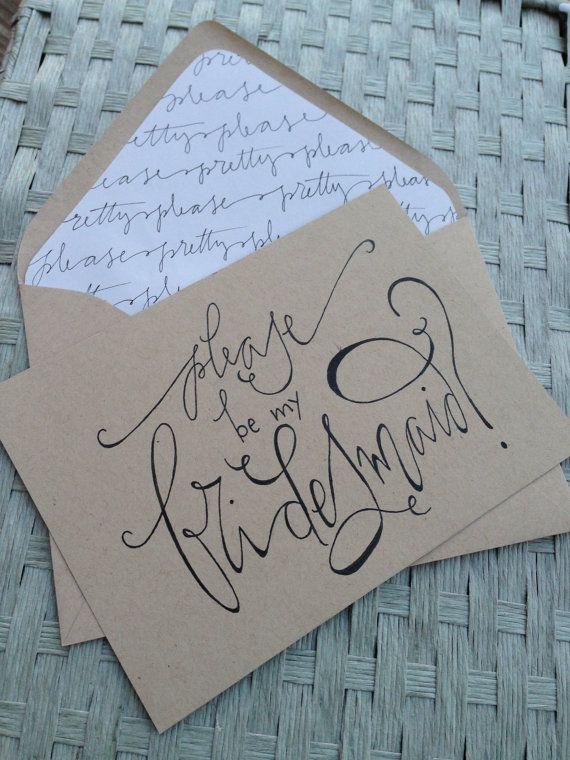 Bridesmaid Card Calligraphy Kraft . $4.00, via GreySnailPress on Etsy.    LUV this!!!