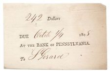 1805 Bank of Pennsylvania Promissory Note Signed Banker Stephen Girard