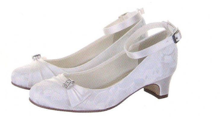 Vintage inspired Lace Communion shoes with Ankle Strap - Couture Childrens Rainbow Club - Mint- Girls White Satin and Lace Communion Shoes with Heel