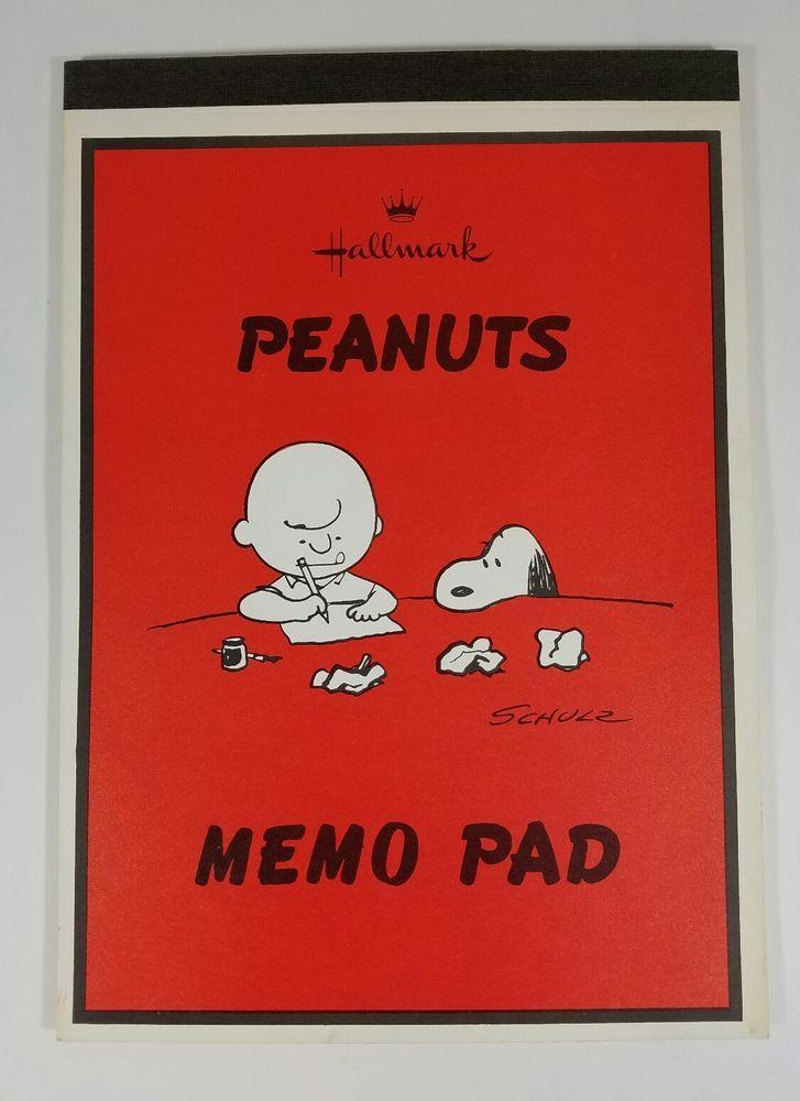 Hallmark Peanuts Snoopy Charlie Brown Memo Pad Cartoon Each Page Vintage 1960s
