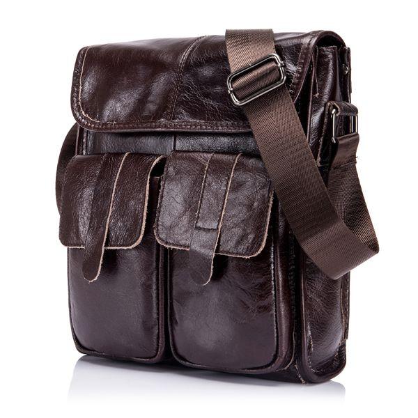 Натуральная кожа Мужские сумки Урожай ретро сумка