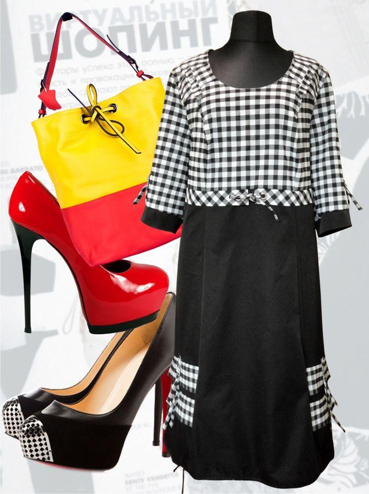 68$ Стильное платье для полных женщин с клеткой Артикул 563, р50-64