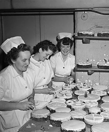 1 December 1950: Christmas cakes are decorated at the Shrewsbury Royal Infirmary.